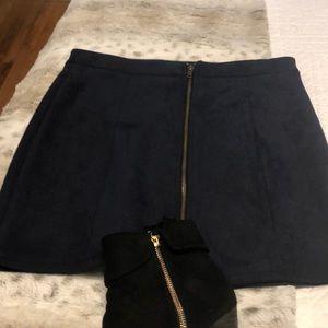 Blue photo suede zipper front skirt